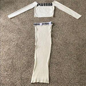 Cream Puma Skirt Set.